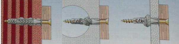 Пример крепежа с использованием дюбеля UX, UXR