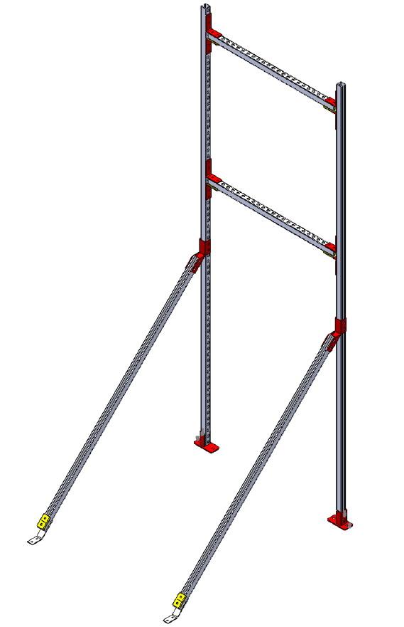 Монтажные системы.  Напольная опора для вентиляционных коробов и трубопроводов высотой до трех метров