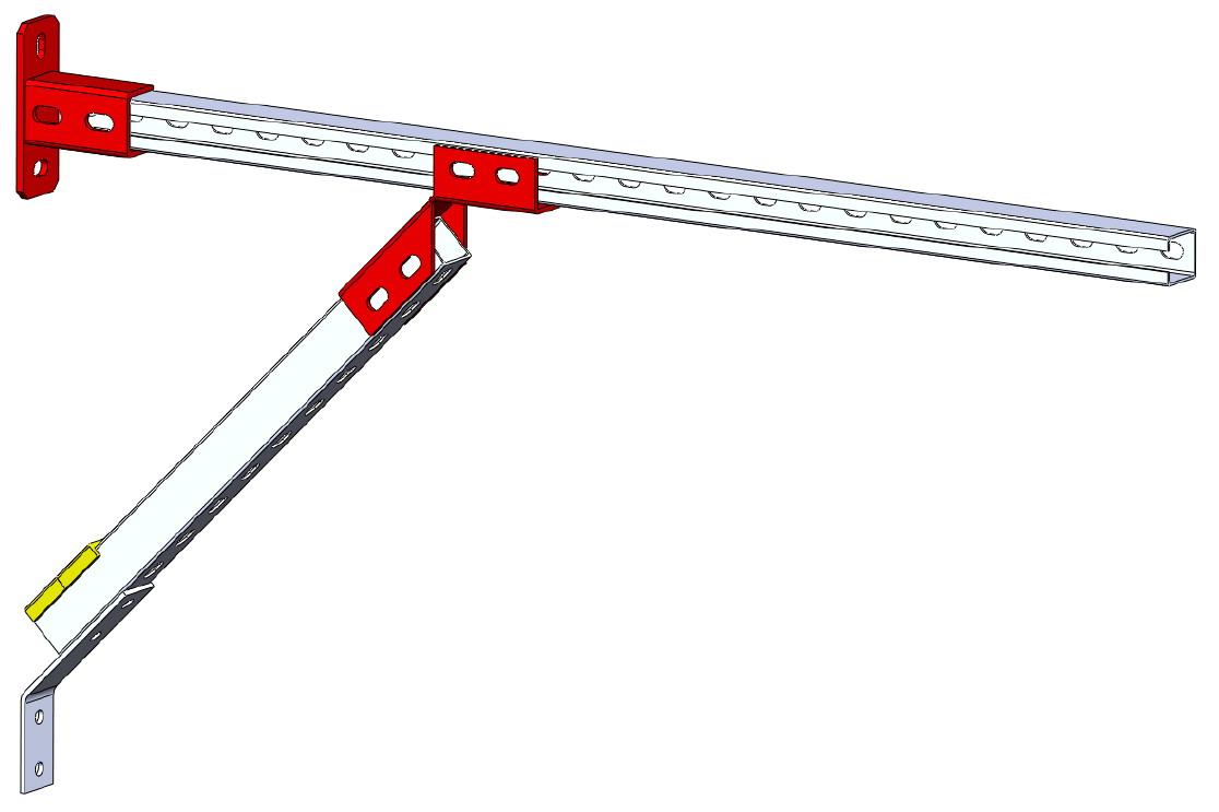 Монтажные системы. Опора трубопровода или вентиляциолнного канала. Крепление стояков к стене.