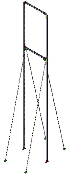 Монтажные системы. Опора трубопровода или вентиляциолнного канала высота до 6 метров.. Горизонтальное крепление на пол.